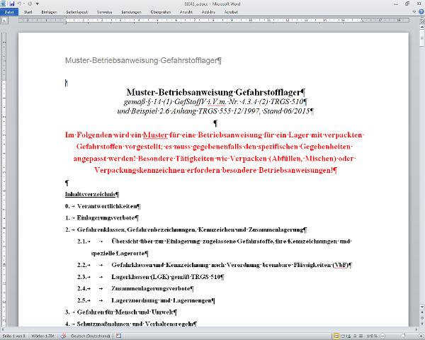fr den eigenen betrieb editierbare muster sammel betriebsanweisung fr ein gefahrstofflager - Muster Betriebsanweisung