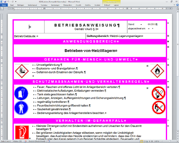 fr den eigenen betrieb editierbare wasserrechtliche muster betriebsanweisung gem vaws 3 - Muster Betriebsanweisung